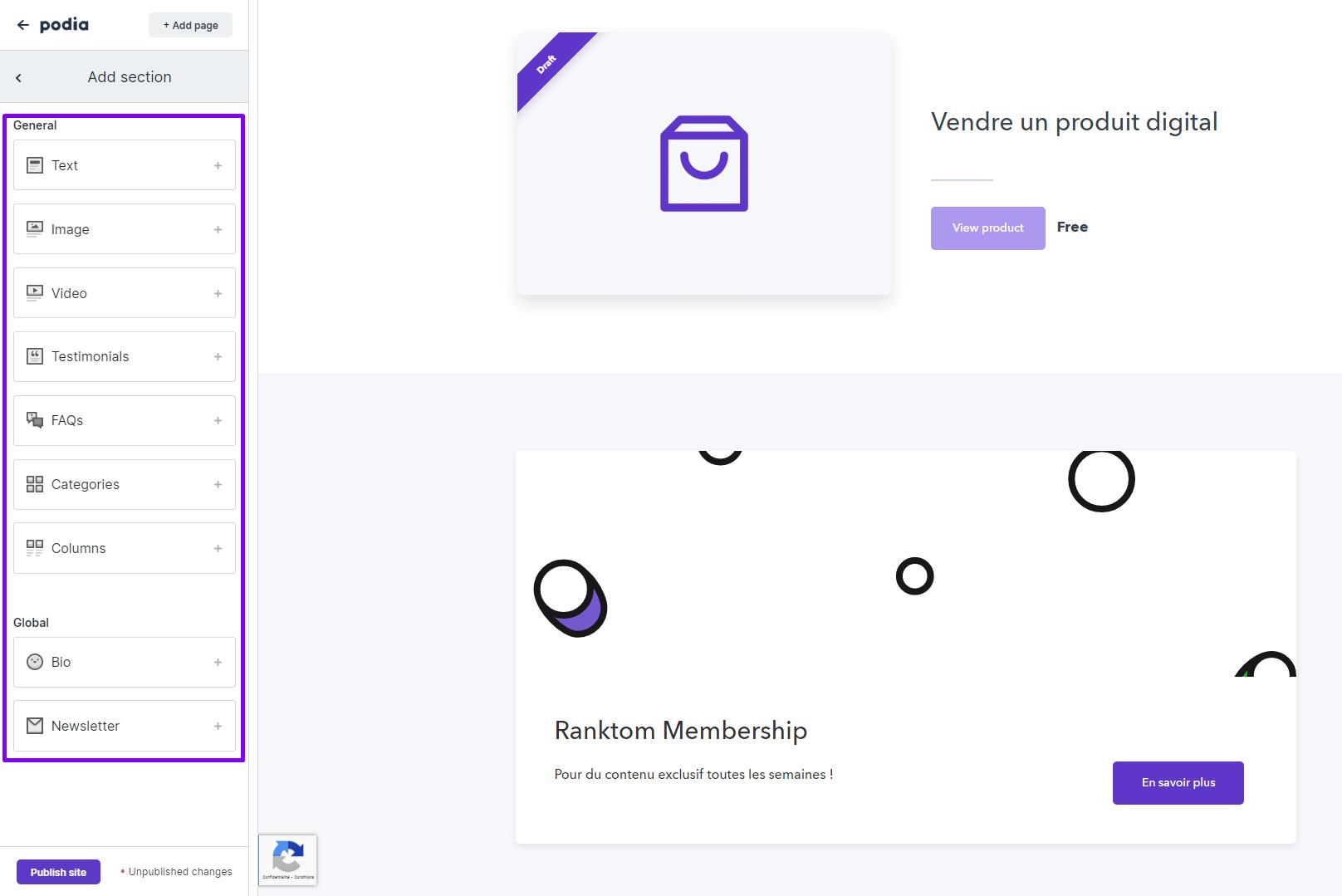 Ajouter une section site Podia