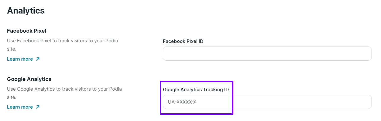 Google Analytics Podia