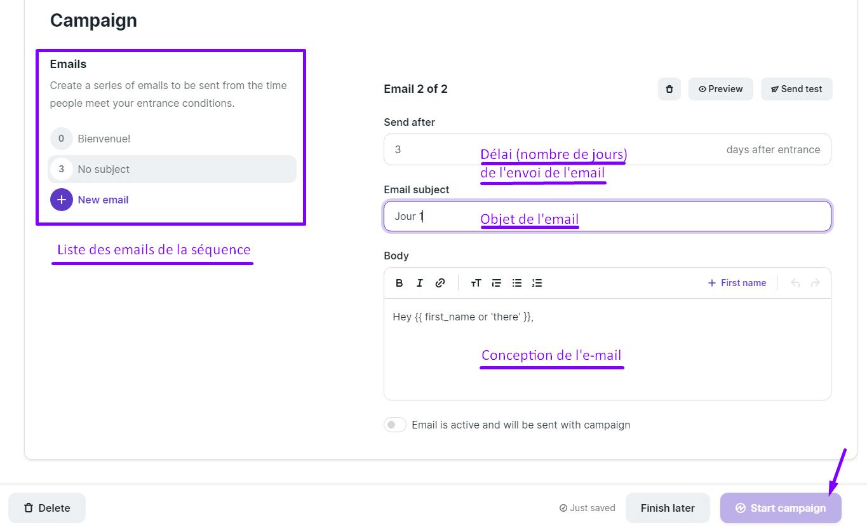 Lancer une campagne ou séquence email sur Podia