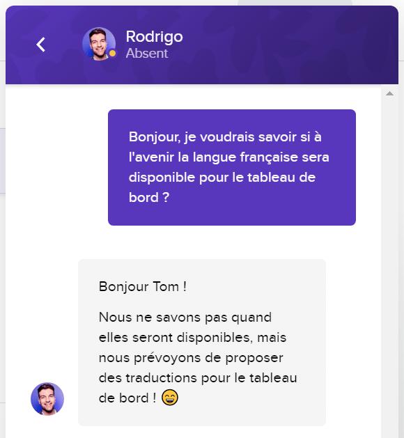 chat support podia en français