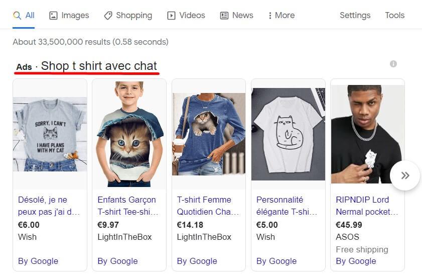 Publicité google shopping
