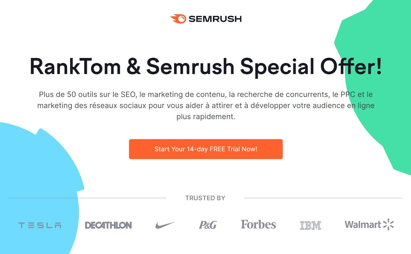 Semrush essai gratuit 14 jours